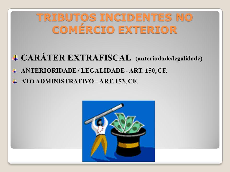 TRIBUTOS INCIDENTES NO COMÉRCIO EXTERIOR CARÁTER EXTRAFISCAL (anteriodade/legalidade) ANTERIORIDADE / LEGALIDADE - ART. 150, CF. ATO ADMINISTRATIVO –