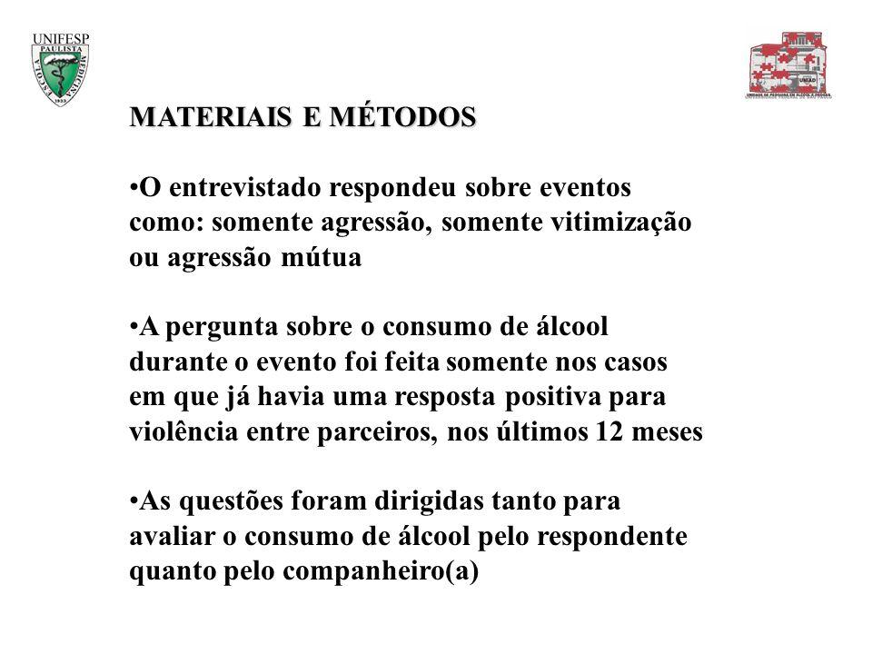 MATERIAIS E MÉTODOS O entrevistado respondeu sobre eventos como: somente agressão, somente vitimização ou agressão mútua A pergunta sobre o consumo de