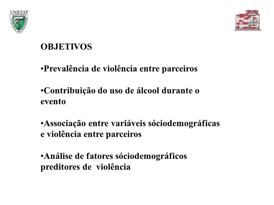 OBJETIVOS Prevalência de violência entre parceiros Contribuição do uso de álcool durante o evento Associação entre variáveis sóciodemográficas e violê