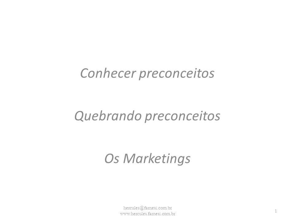 Conhecer preconceitos Quebrando preconceitos Os Marketings hercules@farnesi.com.br www.hercules.farnesi.com.br 1