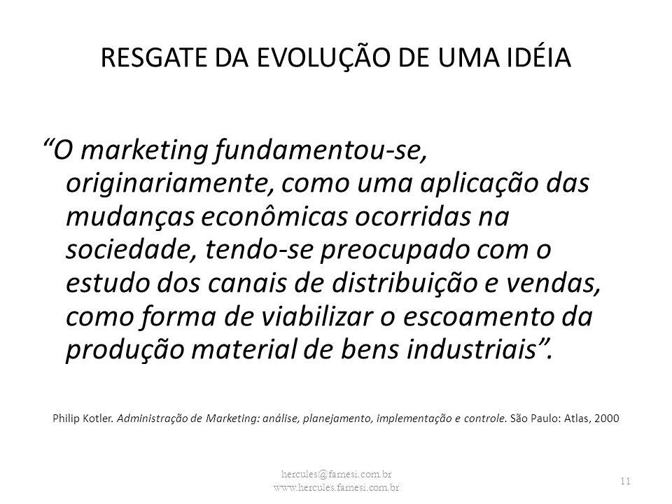 RESGATE DA EVOLUÇÃO DE UMA IDÉIA O marketing fundamentou-se, originariamente, como uma aplicação das mudanças econômicas ocorridas na sociedade, tendo