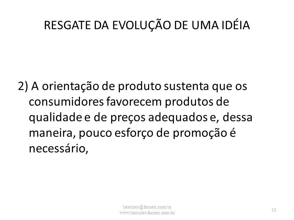 RESGATE DA EVOLUÇÃO DE UMA IDÉIA 2) A orientação de produto sustenta que os consumidores favorecem produtos de qualidade e de preços adequados e, dess