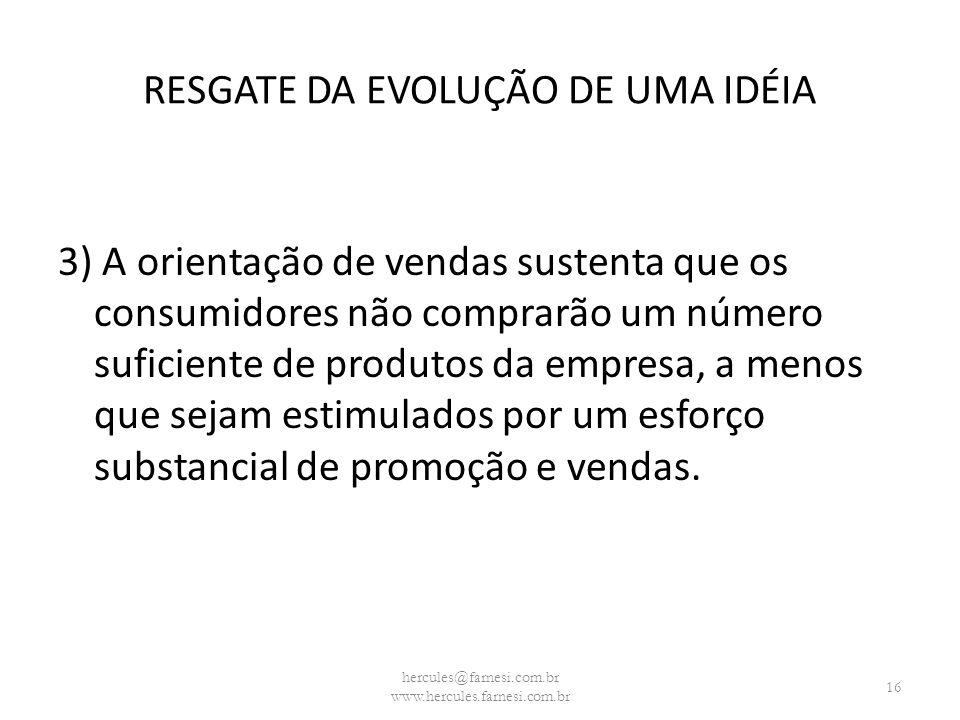 RESGATE DA EVOLUÇÃO DE UMA IDÉIA 3) A orientação de vendas sustenta que os consumidores não comprarão um número suficiente de produtos da empresa, a m