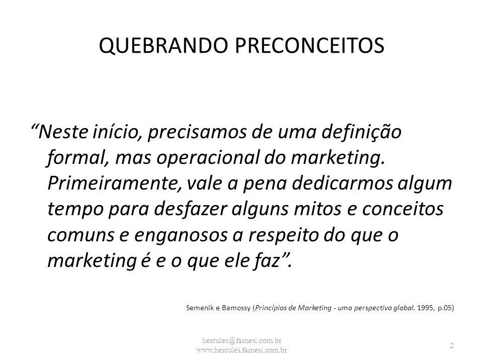 QUEBRANDO PRECONCEITOS Destaque para: MARKETING não é propaganda, não é vendas, não é enganação e nem é meramente bom senso ou intuição.