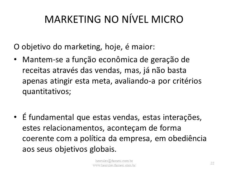 MARKETING NO NÍVEL MICRO O objetivo do marketing, hoje, é maior: Mantem-se a função econômica de geração de receitas através das vendas, mas, já não b