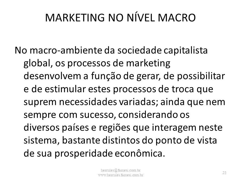 MARKETING NO NÍVEL MACRO No macro-ambiente da sociedade capitalista global, os processos de marketing desenvolvem a função de gerar, de possibilitar e