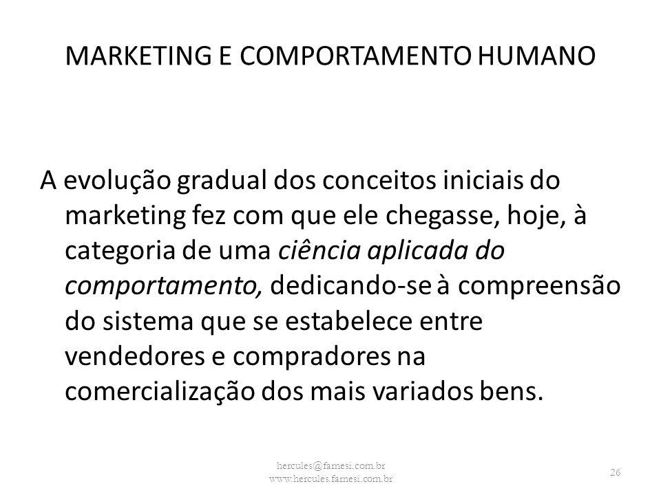 MARKETING E COMPORTAMENTO HUMANO A evolução gradual dos conceitos iniciais do marketing fez com que ele chegasse, hoje, à categoria de uma ciência apl
