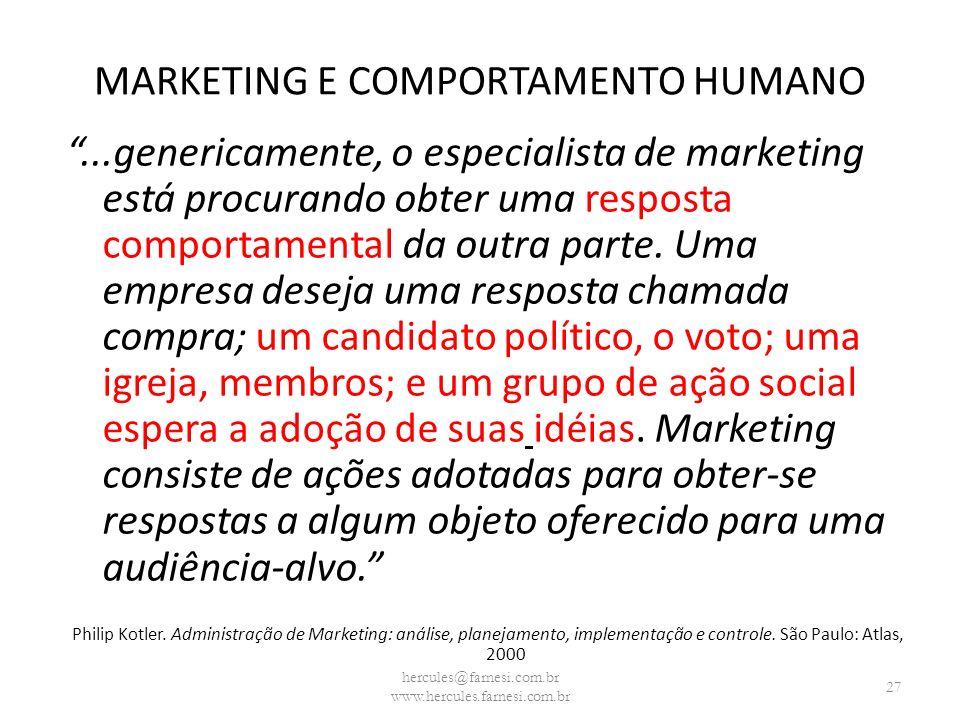 MARKETING E COMPORTAMENTO HUMANO...genericamente, o especialista de marketing está procurando obter uma resposta comportamental da outra parte. Uma em