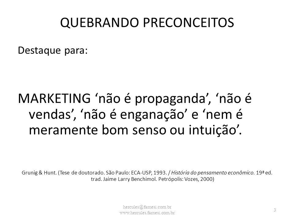 QUEBRANDO PRECONCEITOS Destaque para: MARKETING não é propaganda, não é vendas, não é enganação e nem é meramente bom senso ou intuição. Grunig & Hunt
