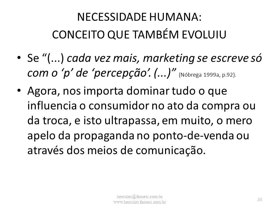 NECESSIDADE HUMANA: CONCEITO QUE TAMBÉM EVOLUIU Se (...) cada vez mais, marketing se escreve só com o p de percepção. (...) (Nóbrega 1999a, p.92). Ago