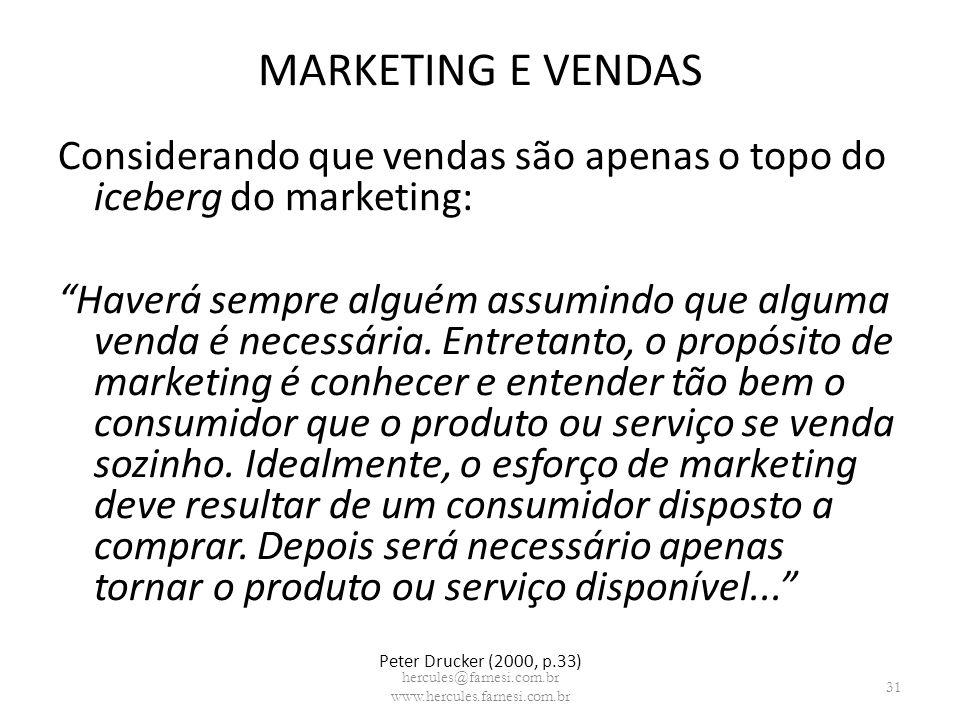 MARKETING E VENDAS Considerando que vendas são apenas o topo do iceberg do marketing: Haverá sempre alguém assumindo que alguma venda é necessária. En