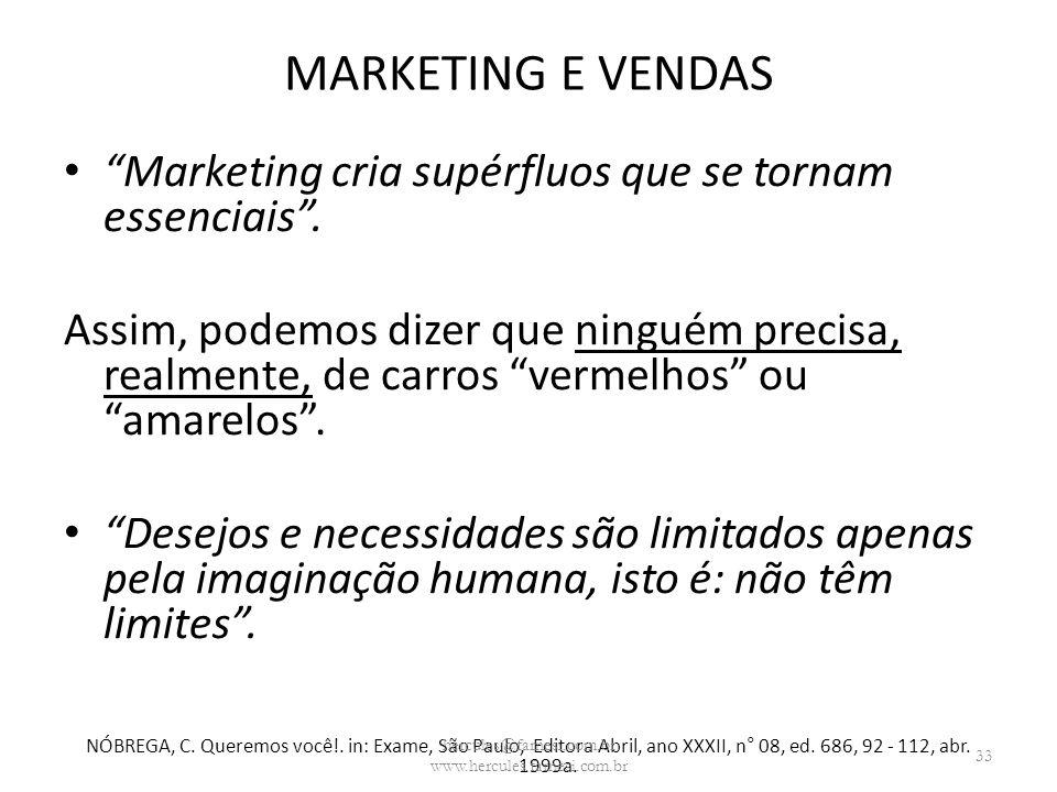 MARKETING E VENDAS Marketing cria supérfluos que se tornam essenciais. Assim, podemos dizer que ninguém precisa, realmente, de carros vermelhos ou ama
