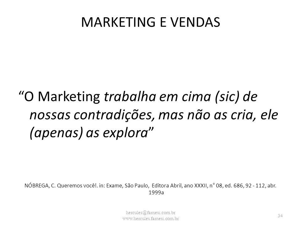 MARKETING E VENDAS O Marketing trabalha em cima (sic) de nossas contradições, mas não as cria, ele (apenas) as explora NÓBREGA, C. Queremos você!. in: