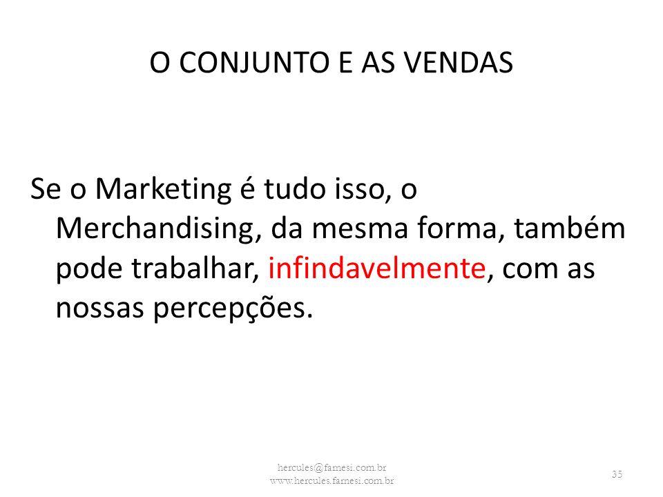 O CONJUNTO E AS VENDAS Se o Marketing é tudo isso, o Merchandising, da mesma forma, também pode trabalhar, infindavelmente, com as nossas percepções.