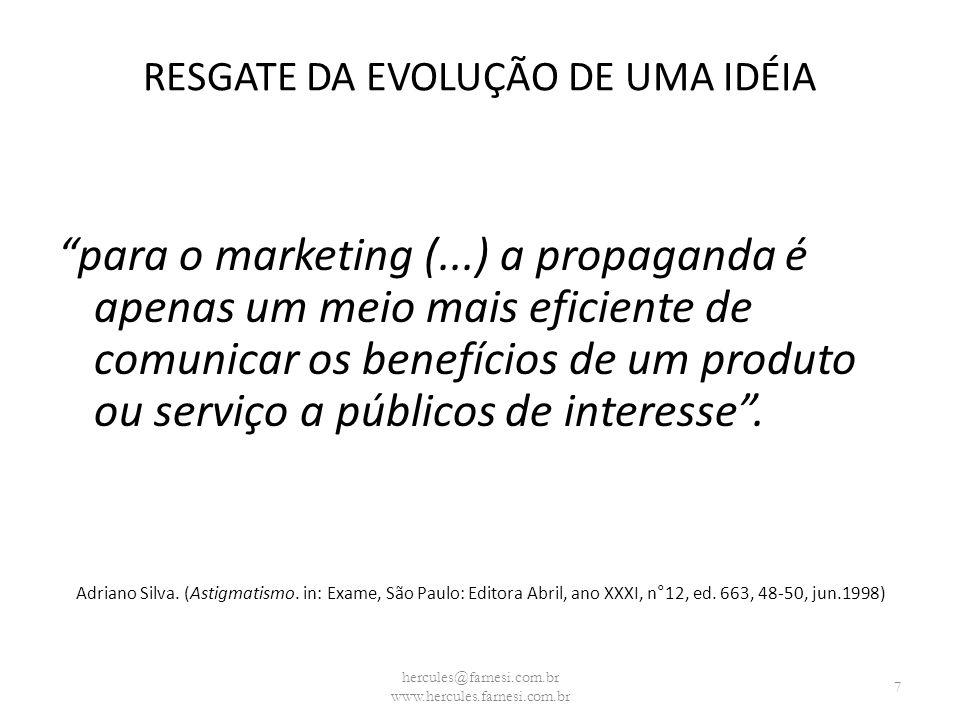 RESGATE DA EVOLUÇÃO DE UMA IDÉIA para o marketing (...) a propaganda é apenas um meio mais eficiente de comunicar os benefícios de um produto ou servi
