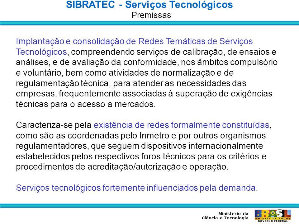Ministério da Ciência e Tecnologia Implantação e consolidação de Redes Temáticas de Serviços Tecnológicos, compreendendo serviços de calibração, de en