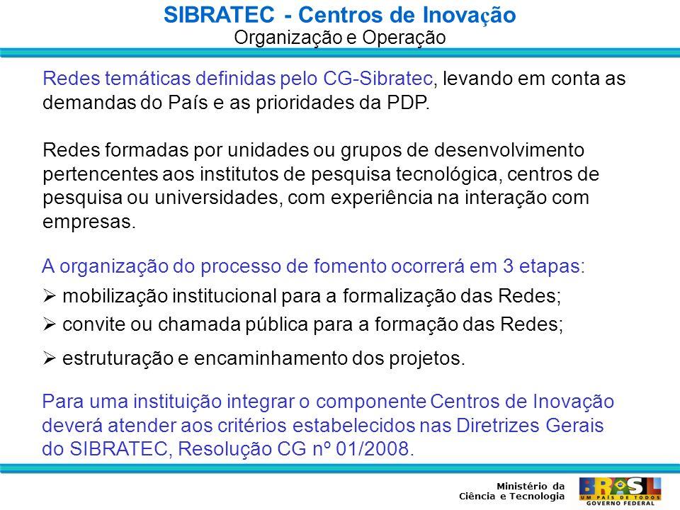 Ministério da Ciência e Tecnologia Redes temáticas definidas pelo CG-Sibratec, levando em conta as demandas do País e as prioridades da PDP. Redes for