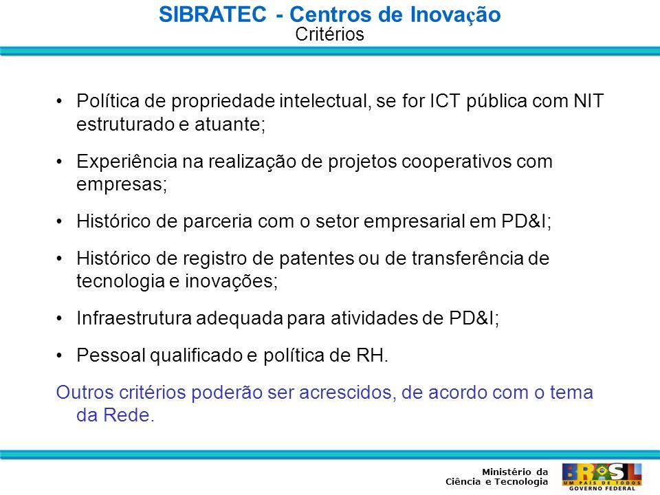 Ministério da Ciência e Tecnologia Política de propriedade intelectual, se for ICT pública com NIT estruturado e atuante; Experiência na realização de