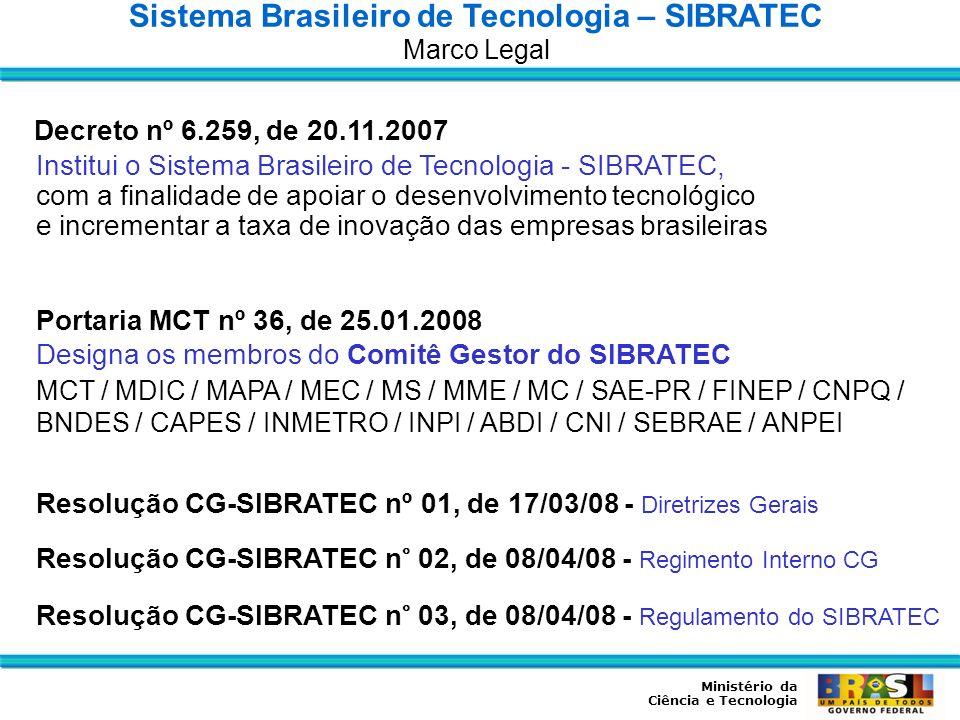Ministério da Ciência e Tecnologia Sistema Brasileiro de Tecnologia – SIBRATEC Diretrizes Gerais Apoiar o desenvolvimento tecnológico da empresa brasileira, por meio da promoção de atividades de P,D&I de processos e produtos; de serviços tecnológicos; e de extensão tecnológica, atendendo aos objetivos do PACTI 2007–2010 e as prioridades da PDP.