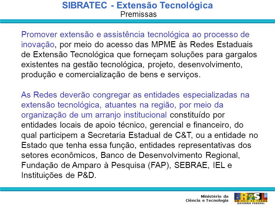 Ministério da Ciência e Tecnologia SIBRATEC - Extensão Tecnológica Organização e Operação Será apoiada uma rede por Estado, observando as especialidades produtivas locais e as políticas estaduais de desenvolvimento.