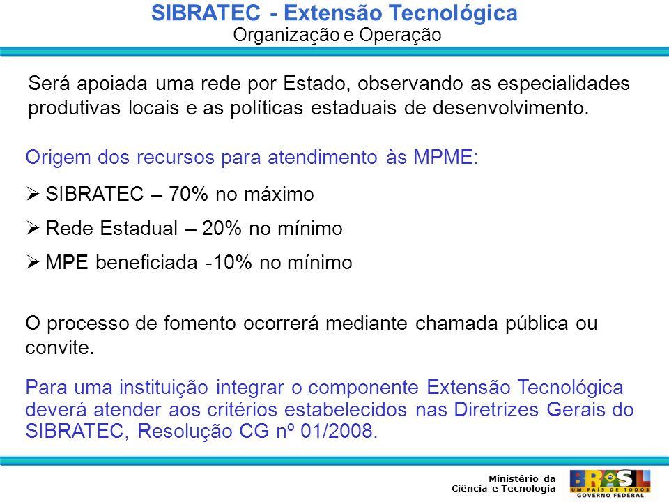 Ministério da Ciência e Tecnologia SIBRATEC - Extensão Tecnológica Organização e Operação Será apoiada uma rede por Estado, observando as especialidad