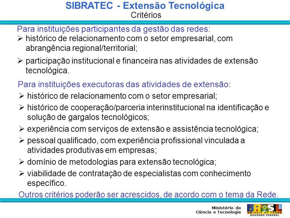 Ministério da Ciência e Tecnologia SIBRATEC – Redes Estaduais de Extensão Tecnológica