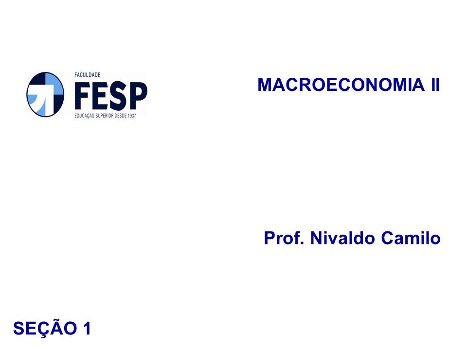 MACROECONOMIA II Prof. Nivaldo Camilo SEÇÃO 1
