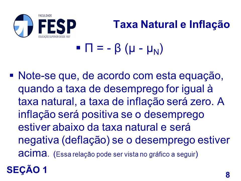 П = - β (μ - μ N ) Note-se que, de acordo com esta equação, quando a taxa de desemprego for igual à taxa natural, a taxa de inflação será zero. A infl