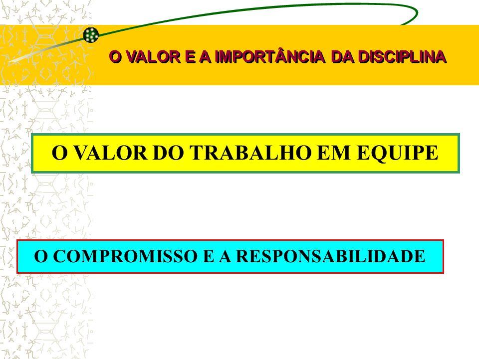 O VALOR DO TRABALHO EM EQUIPE O VALOR E A IMPORTÂNCIA DA DISCIPLINA O COMPROMISSO E A RESPONSABILIDADE