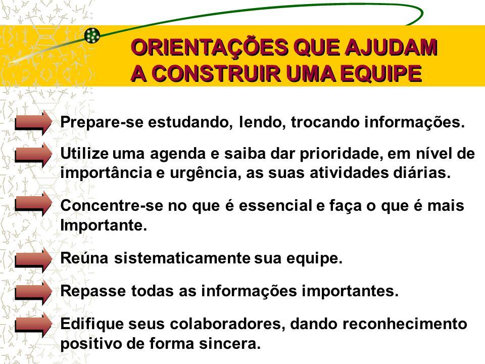 ORIENTAÇÕES QUE AJUDAM A CONSTRUIR UMA EQUIPE ORIENTAÇÕES QUE AJUDAM A CONSTRUIR UMA EQUIPE Prepare-se estudando, lendo, trocando informações. Utilize