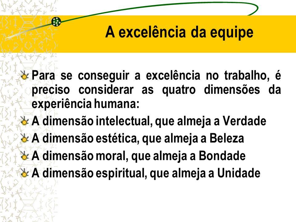 A excelência da equipe Para se conseguir a excelência no trabalho, é preciso considerar as quatro dimensões da experiência humana: A dimensão intelect