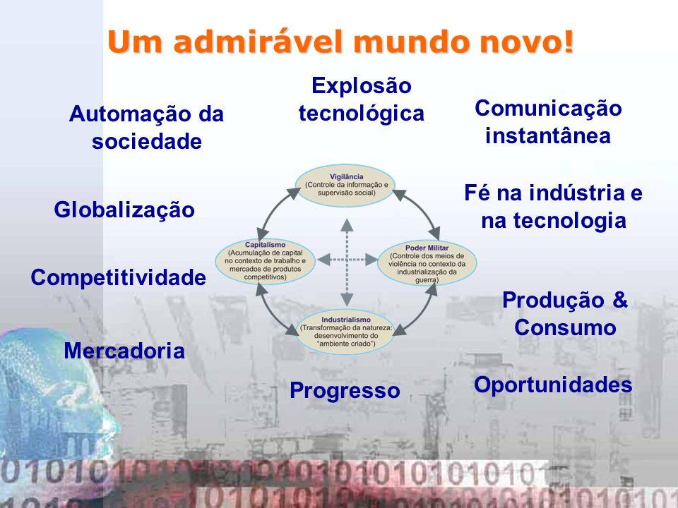 Um admirável mundo novo! Explosão tecnológica Comunicação instantânea Globalização Competitividade Oportunidades Automação da sociedade Progresso Merc