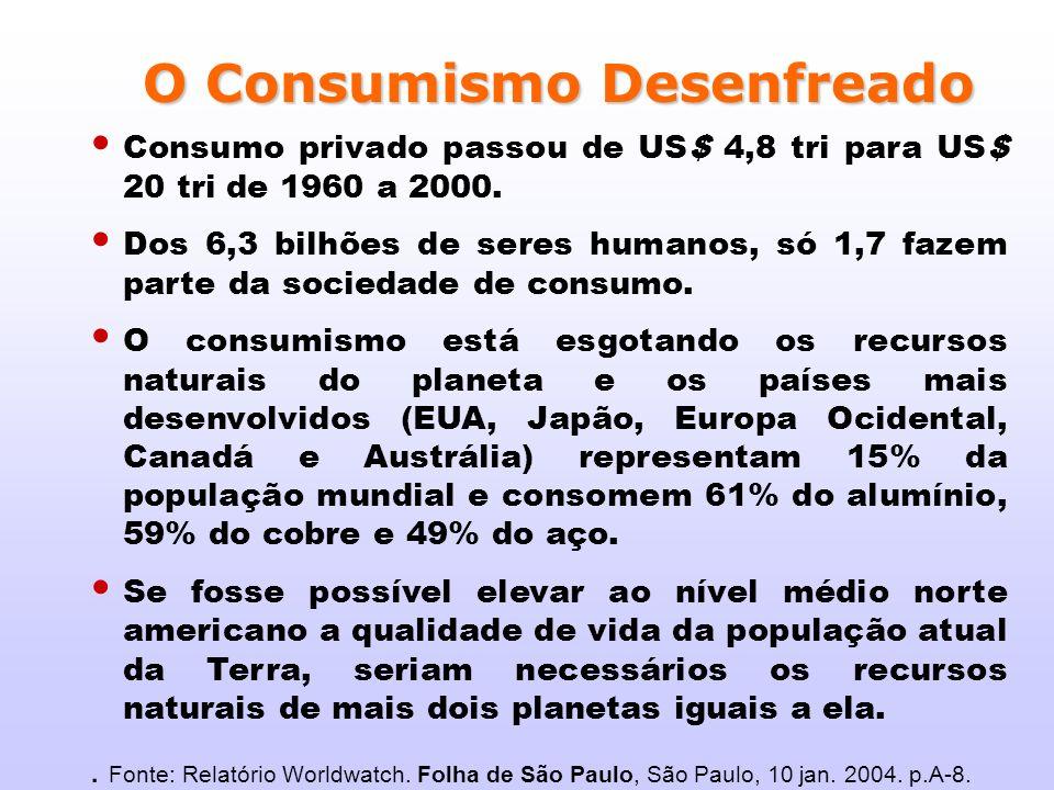 Consumo privado passou de US$ 4,8 tri para US$ 20 tri de 1960 a 2000. Dos 6,3 bilhões de seres humanos, só 1,7 fazem parte da sociedade de consumo. O