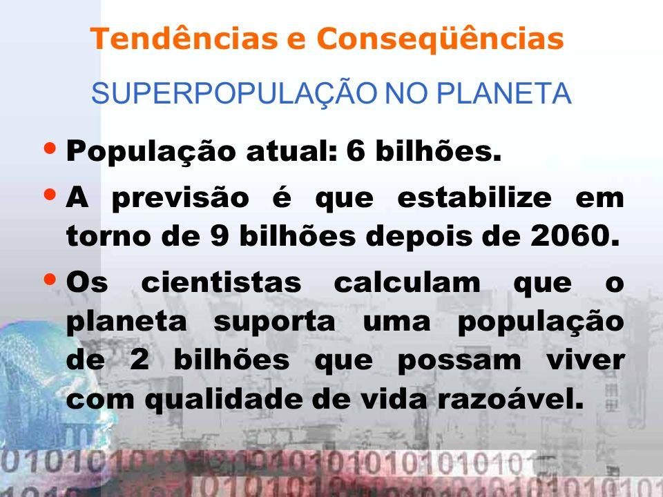 SUPERPOPULAÇÃO NO PLANETA População atual: 6 bilhões. A previsão é que estabilize em torno de 9 bilhões depois de 2060. Os cientistas calculam que o p