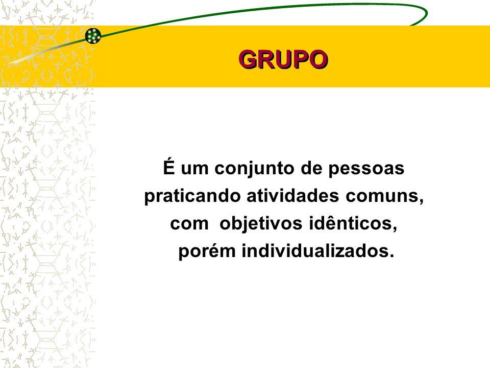 GRUPO É um conjunto de pessoas praticando atividades comuns, com objetivos idênticos, porém individualizados.