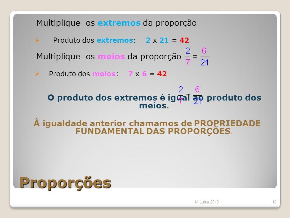 Proporções Multiplique os extremos da proporção Produto dos extremos: 2 x 21 = 42 Multiplique os meios da proporção Produto dos meios: 7 x 6 = 42 O pr