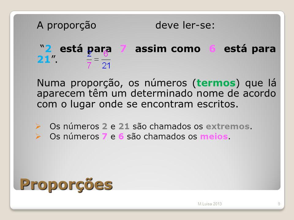 Proporções A proporção deve ler-se: 2 está para 7 assim como 6 está para 21. Numa proporção, os números (termos) que lá aparecem têm um determinado no