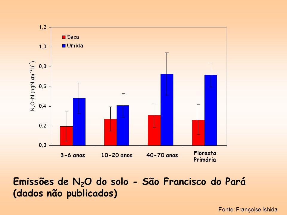 Fonte: Françoise Ishida Emissões de N 2 O do solo - São Francisco do Pará (dados não publicados) 3-6 anos40-70 anos10-20 anos Floresta Primária