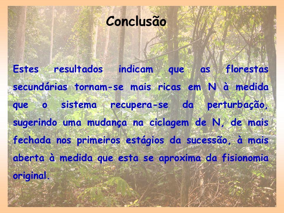 Conclusão Estes resultados indicam que as florestas secundárias tornam-se mais ricas em N à medida que o sistema recupera-se da perturbação, sugerindo