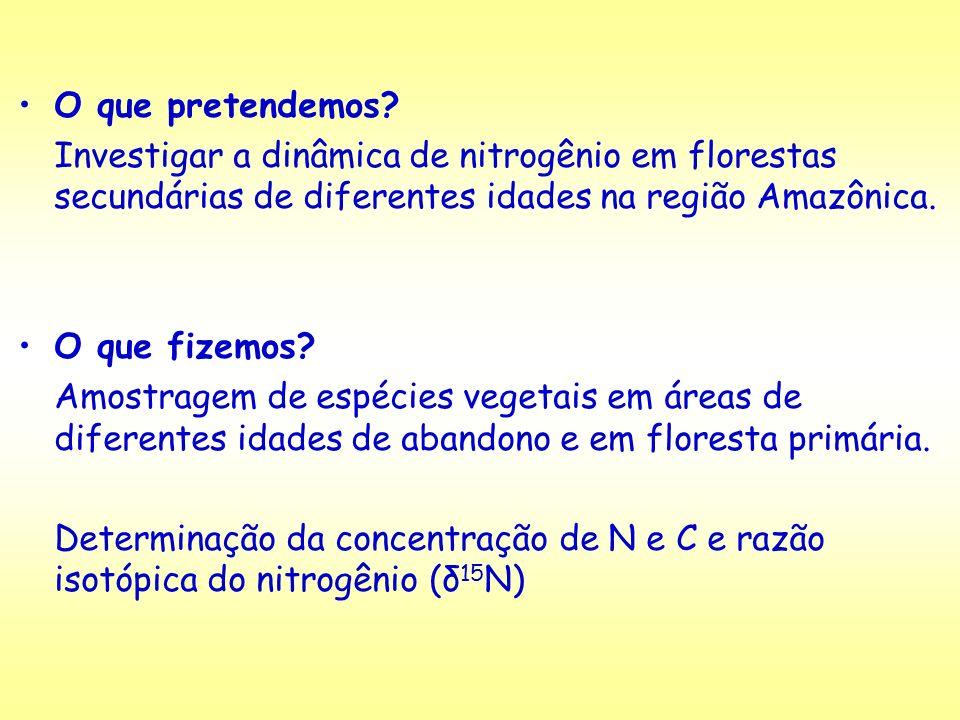 Coleta de dados: Folhas: ~= 30 indivíduos em cada área Indíviduos/espécies escolhidos levando em conta seu Índice de Valor de Importância IVI = FR+DR+DoR (Frequência, Densidade e Dominância relativas) Análises químicas: Determinação isotópica de N e determinação de N e C total.