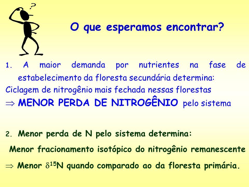 1. A maior demanda por nutrientes na fase de estabelecimento da floresta secundária determina: Ciclagem de nitrogênio mais fechada nessas florestas ME