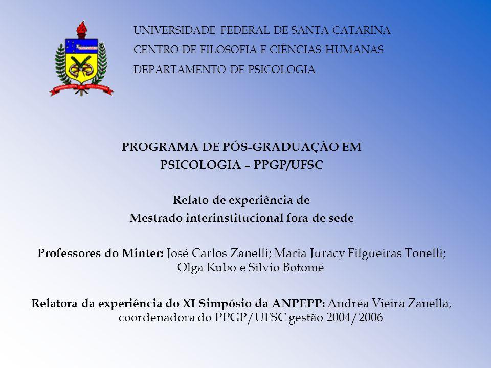 PROGRAMA DE PÓS-GRADUAÇÃO EM PSICOLOGIA – PPGP/UFSC Relato de experiência de Mestrado interinstitucional fora de sede Professores do Minter: José Carl