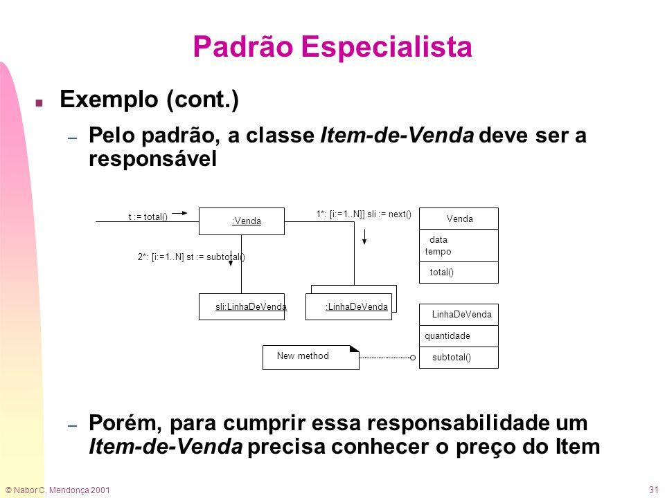 © Nabor C. Mendonça 2001 31 n Exemplo (cont.) – Pelo padrão, a classe Item-de-Venda deve ser a responsável – Porém, para cumprir essa responsabilidade