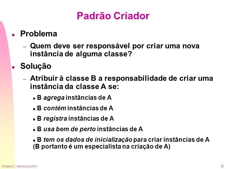 © Nabor C. Mendonça 2001 35 Padrão Criador n Problema – Quem deve ser responsável por criar uma nova instância de alguma classe? n Solução – Atribuir