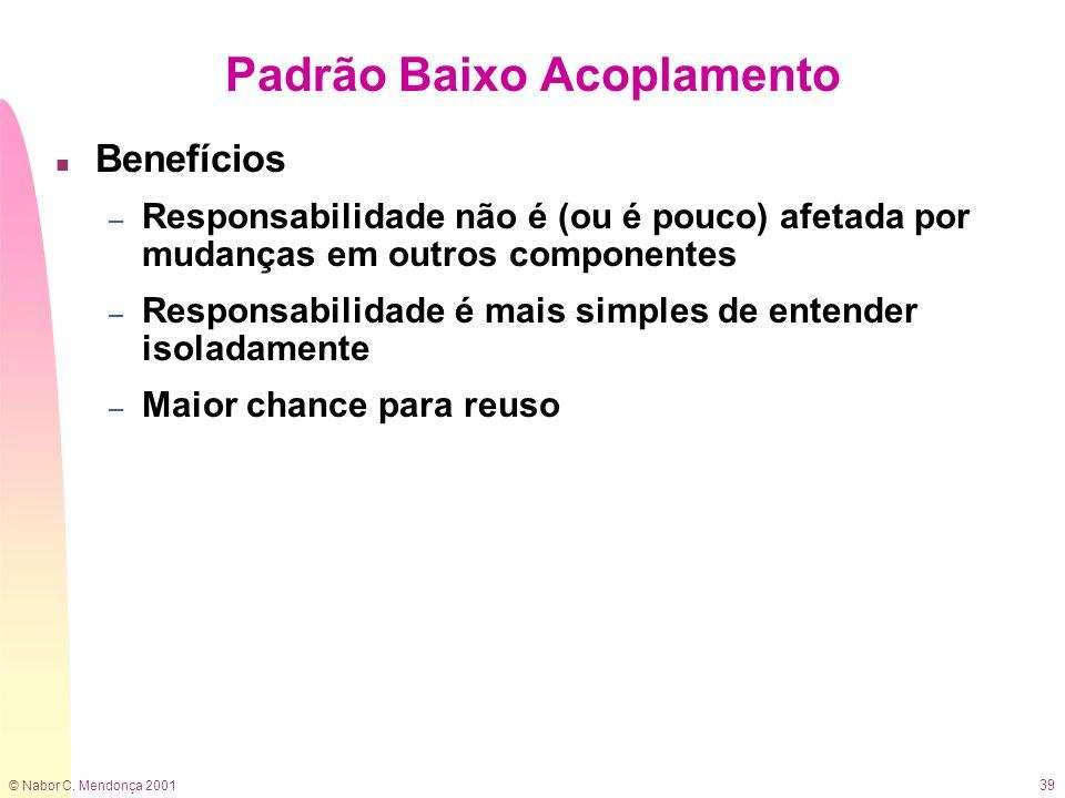 © Nabor C. Mendonça 2001 39 n Benefícios – Responsabilidade não é (ou é pouco) afetada por mudanças em outros componentes – Responsabilidade é mais si