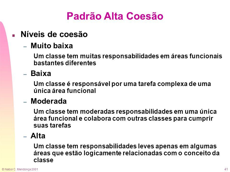 © Nabor C. Mendonça 2001 41 Padrão Alta Coesão n Níveis de coesão – Muito baixa Um classe tem muitas responsabilidades em áreas funcionais bastantes d