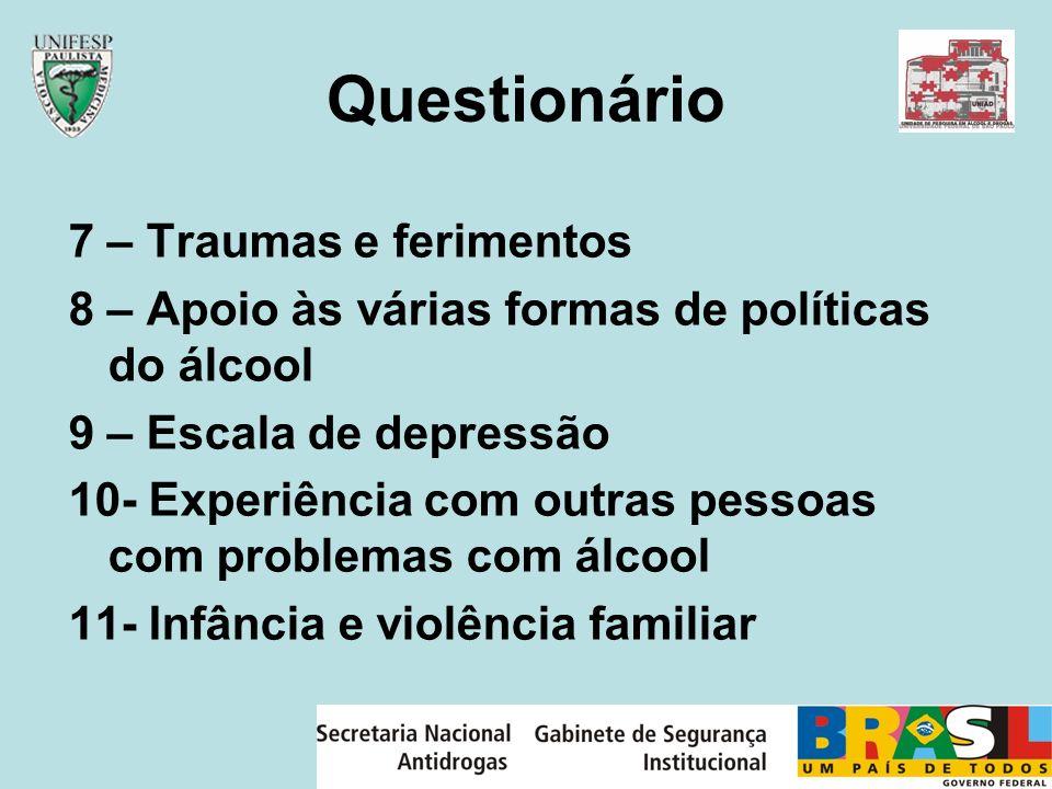 Questionário 7 – Traumas e ferimentos 8 – Apoio às várias formas de políticas do álcool 9 – Escala de depressão 10- Experiência com outras pessoas com