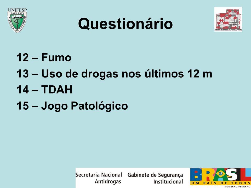Questionário 12 – Fumo 13 – Uso de drogas nos últimos 12 m 14 – TDAH 15 – Jogo Patológico