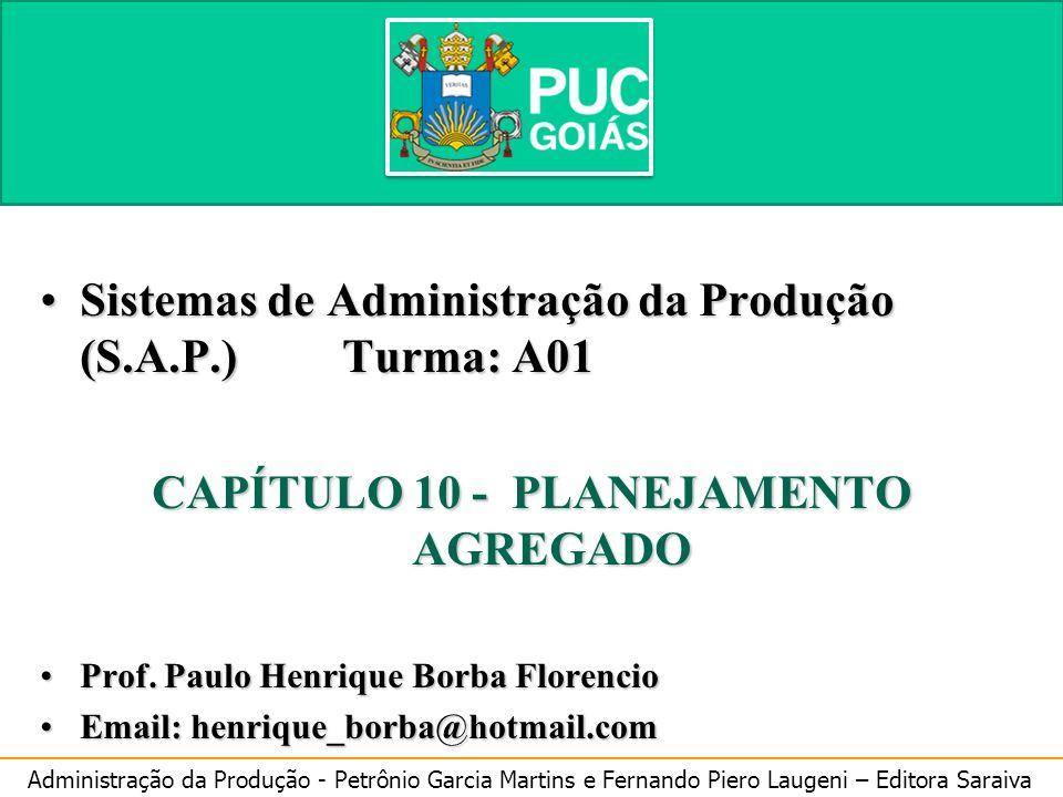 Administração da Produção - Petrônio Garcia Martins e Fernando Piero Laugeni – Editora Saraiva 10 Planejamento Agregado Sistemas de Administração da P