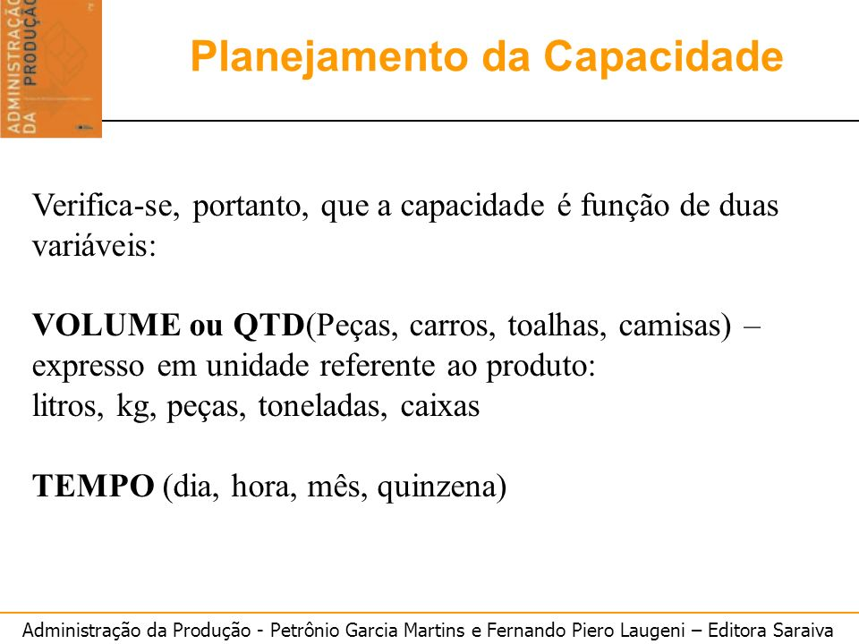 Administração da Produção - Petrônio Garcia Martins e Fernando Piero Laugeni – Editora Saraiva 10 Planejamento Agregado Planejamento da Capacidade Ver